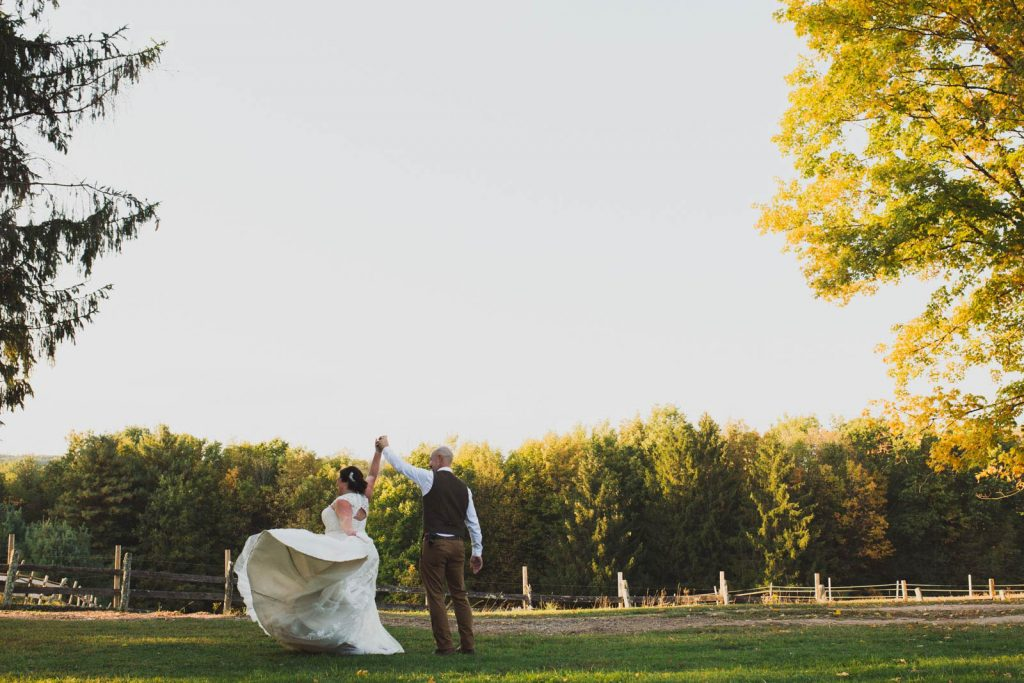 Golden hour farm wedding at Rustic Ridge View Farm