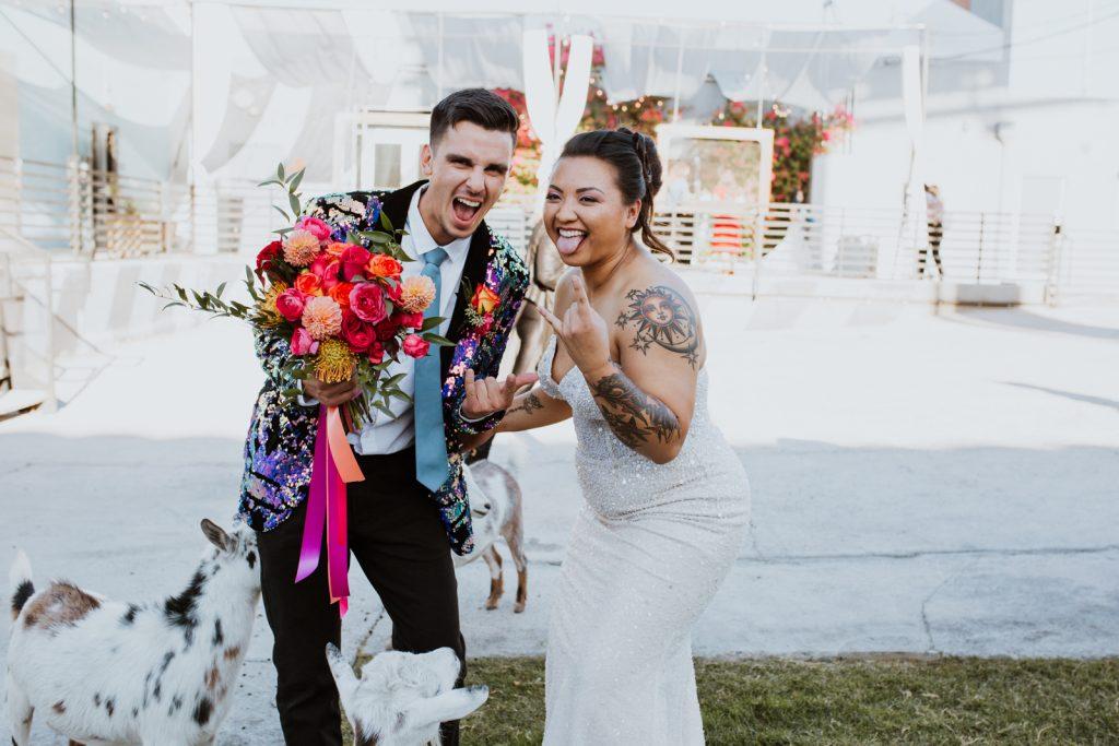 Las Vegas Bride and Groom getting wild