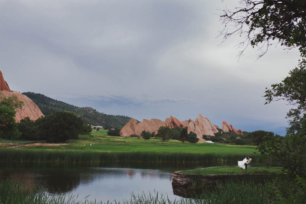Stormy skies ad red rocks  for bride and groom photos