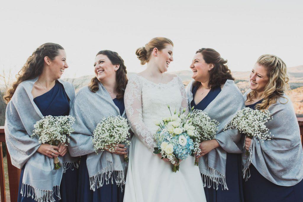 Bridesmaids photos for a winter wedding at Windham Mountain
