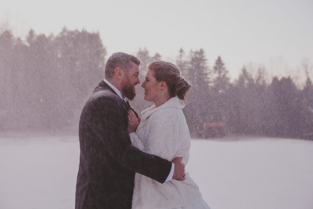 Snowy Wedding Portraits at a ski resort in the Hudson Valley