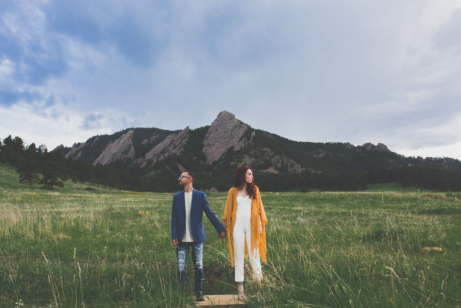 stormy sky summer engagement session - chautauqua park, Boulder CO