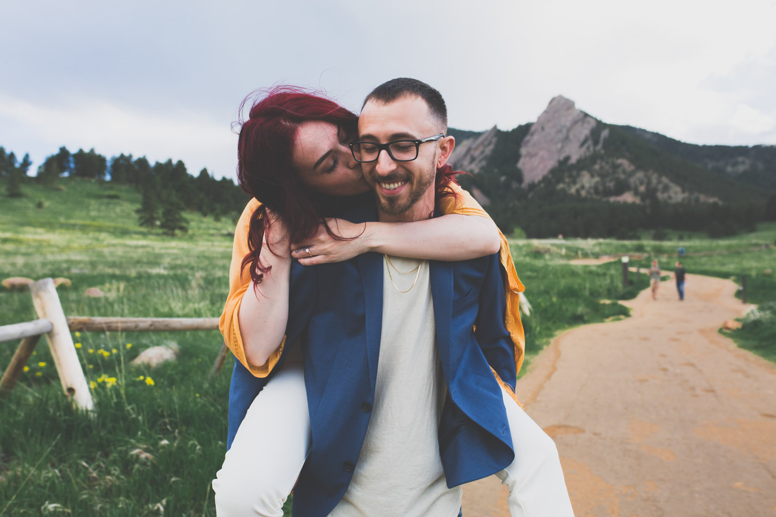 piggy back ride summer engagement session- Chautauqua Park, Boulder Colorado