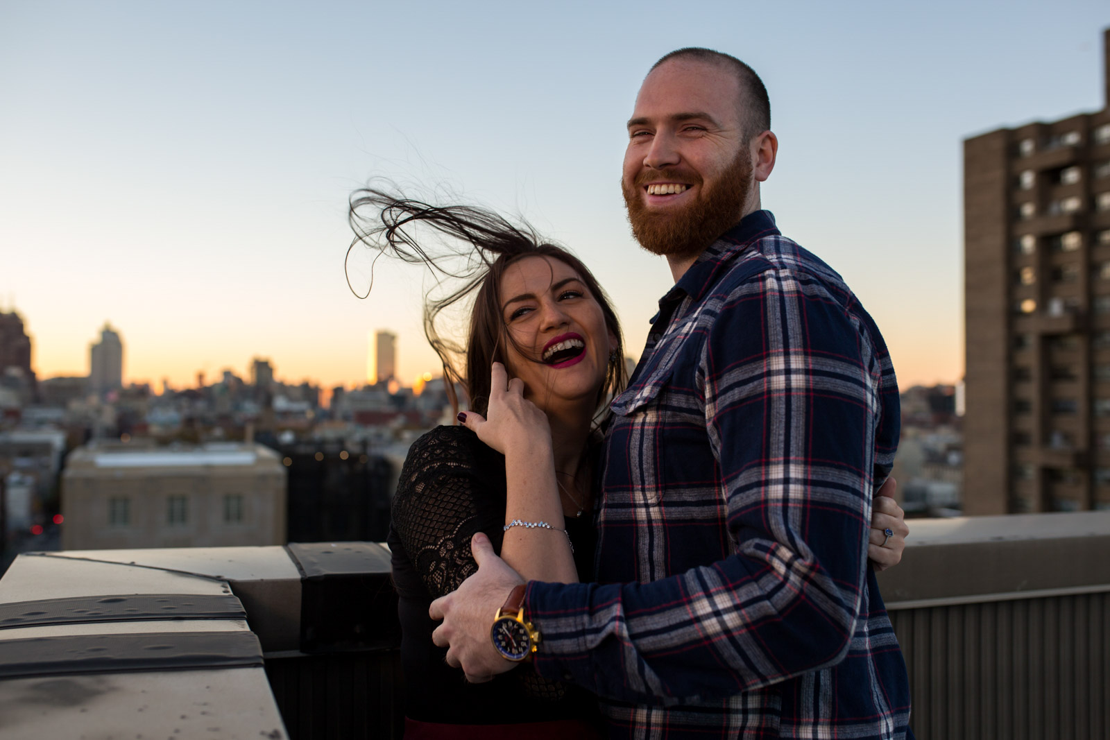 Brooklyn New York  - windy summer rooftop engagement session
