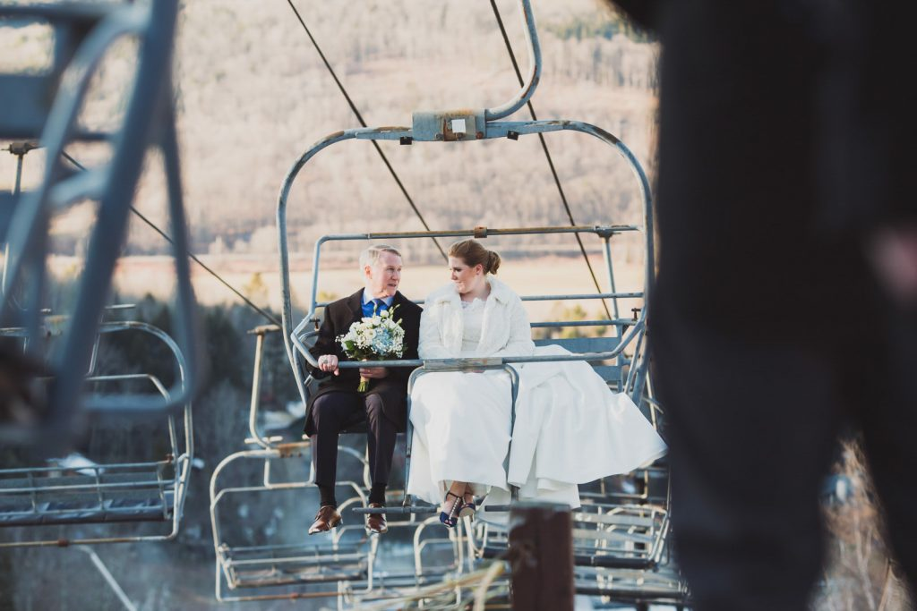 Windham Mountain Winter Wedding - Father and daughter on Ski Lift