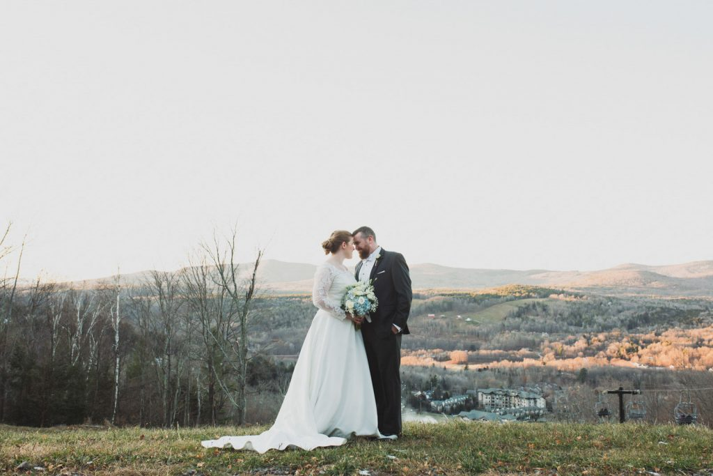 Bride and Groom portraits , winter wedding at Windham Mountain