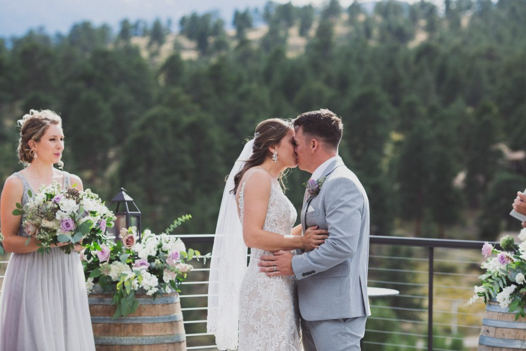 First Kiss after the ceremony , SkyView in Estes Park CO